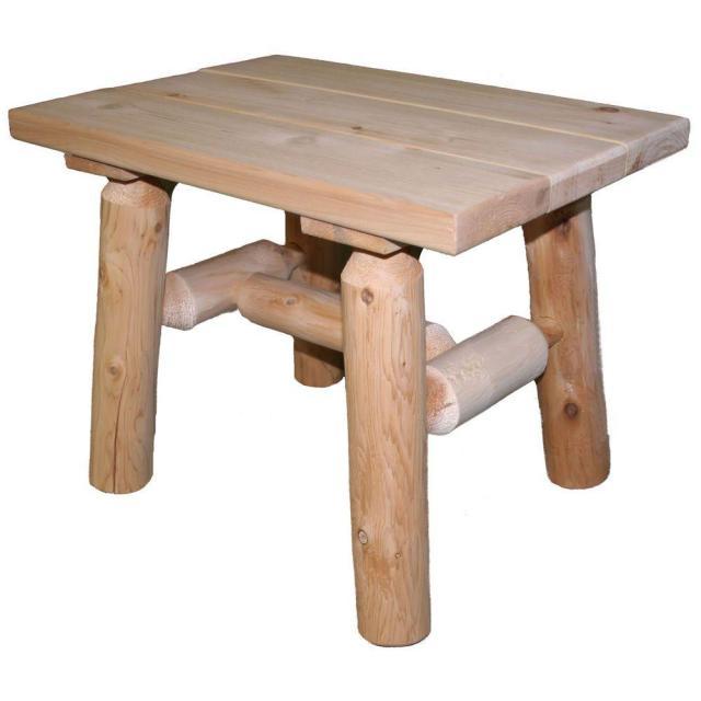 lakeland mills 23 in. x 17 in. cedar log patio end table-cf1222