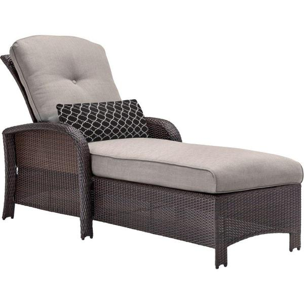 Hanover Strathmere All Weather Wicker Patio Chaise Lounge Chair with     Hanover Strathmere All Weather Wicker Patio Chaise Lounge Chair with Silver  Lining Cushion