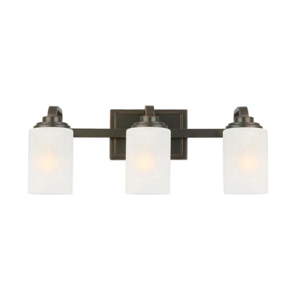 Hampton Bay 3 Light Oil Rubbed Bronze Vanity Light with Frosted     Hampton Bay 3 Light Oil Rubbed Bronze Vanity Light with Frosted Patterned  Glass Shade