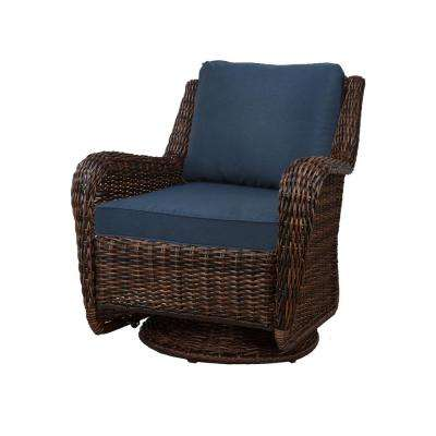 Cambridge Brown Wicker Swivel Outdoor Rocking Chair With Blue Cushions