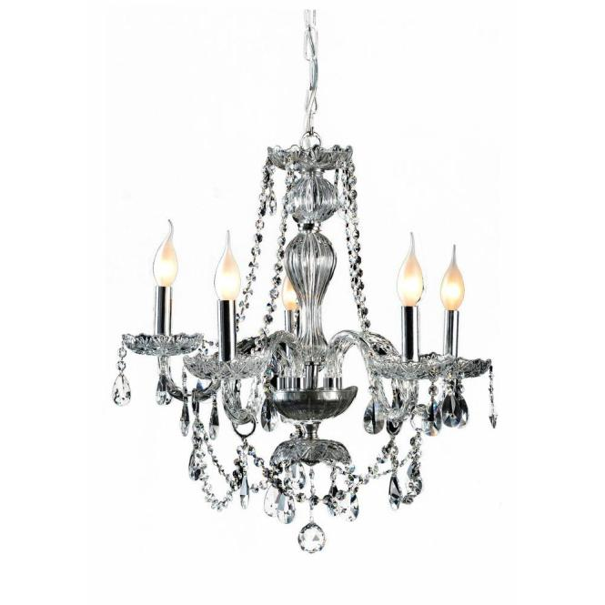 Decor Living Venetian 5 Light Crystal And Chrome Chandelier 104991 15 The Home Depot