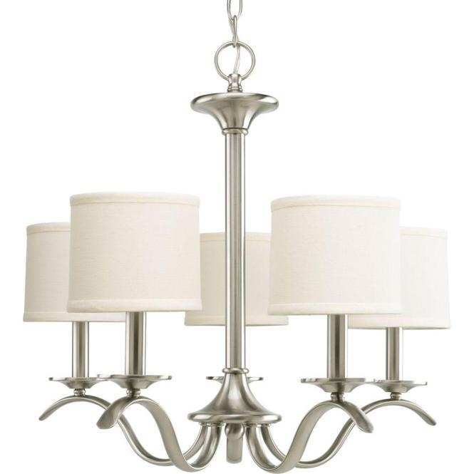 Progress Lighting Inspire Collection 5 Light Brushed Nickel Chandelier With Shade P4635 09 The Home Depot
