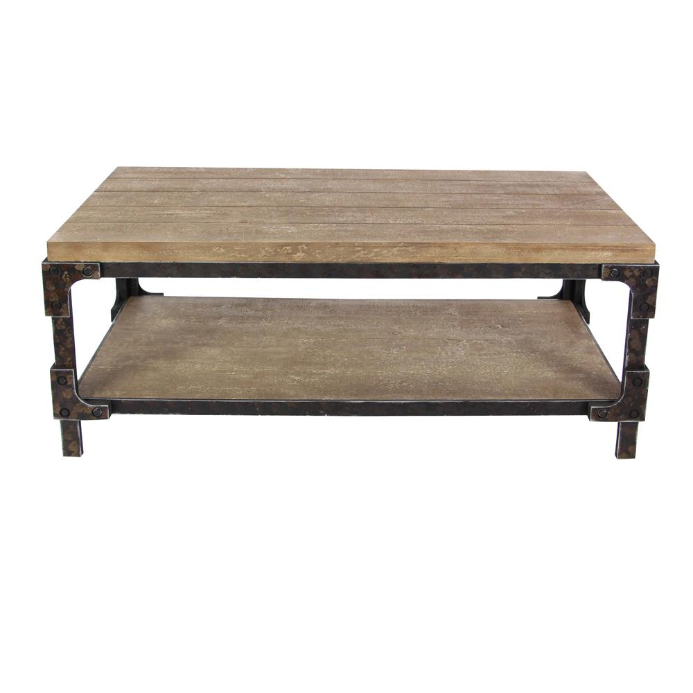 litton lane 47 in brown black medium rectangle wood coffee table with shelf 85999 the home depot