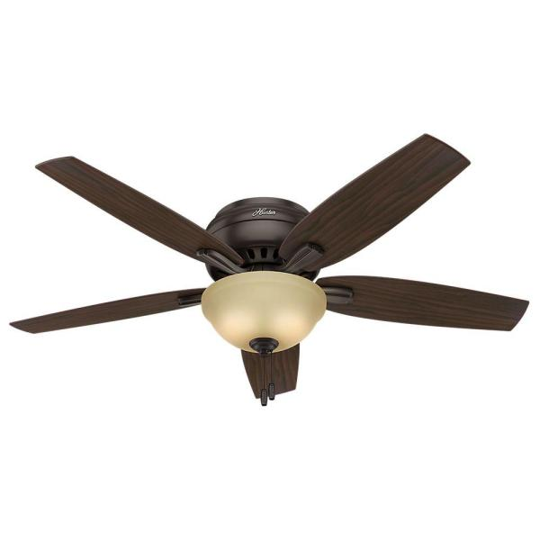 Hunter Newsome 52 in  Indoor Premier Bronze Bowl Light Kit Low     Indoor Premier Bronze Bowl Light Kit Low Profile Ceiling Fan
