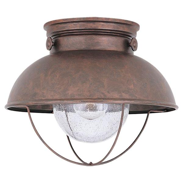 Sea Gull Lighting Sebring 11 25 in  W  1 Light Weathered Copper     Sea Gull Lighting Sebring 11 25 in  W  1 Light Weathered Copper Outdoor  Ceiling