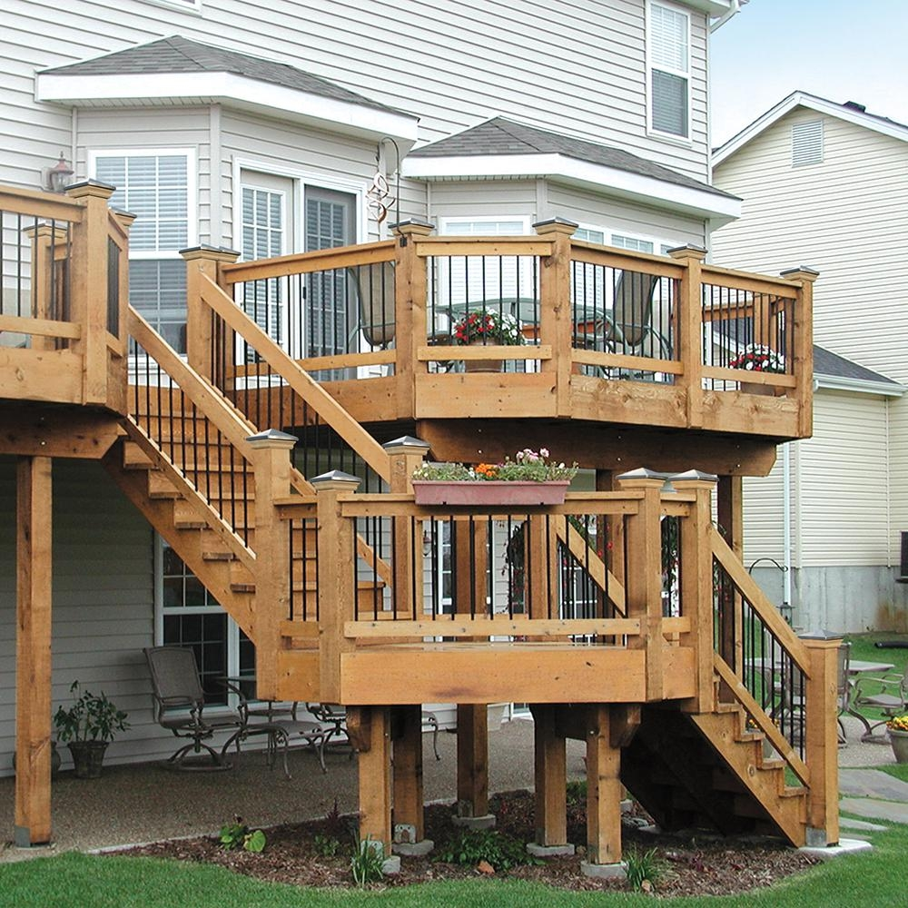 2 Step Pressure Treated Cedar Tone Pine Stair Stringer 215726 | Repairing Outdoor Wooden Steps | Staircase | Patio | Concrete Slab | Front Porch | Stringer