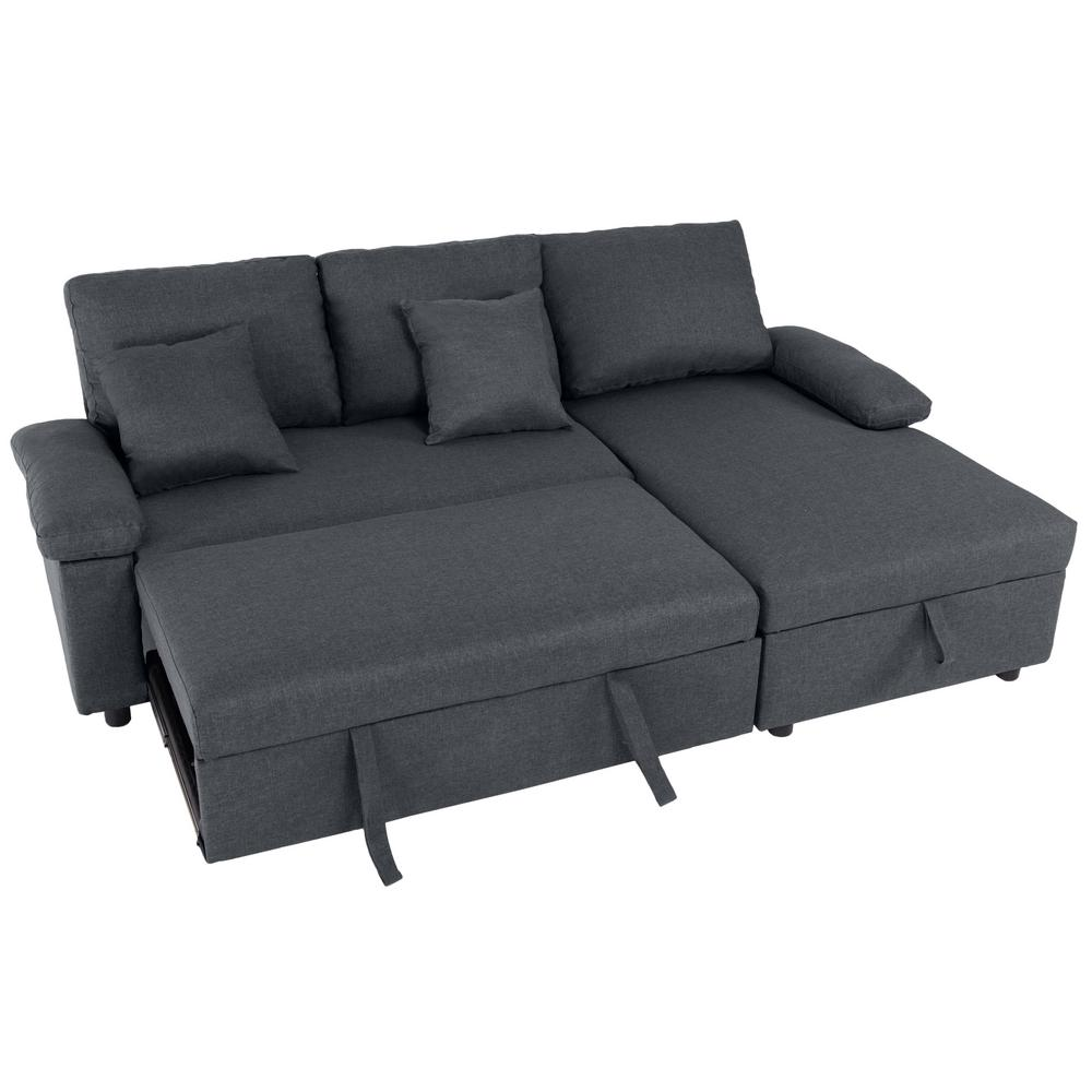 good gracious 86 61 in dark gray microfiber 4 seats sectional sleeper sofa with storage chaise sct 166 the home depot