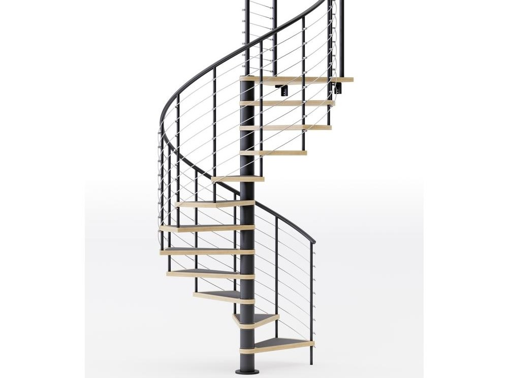 Mylen Stairs Hayden Black Interior 60 Diameter 12 Treads With 1 | 12 Foot Spiral Staircase | Lowes | Stair Treads | Black Spiral | Steel | Gray Interior