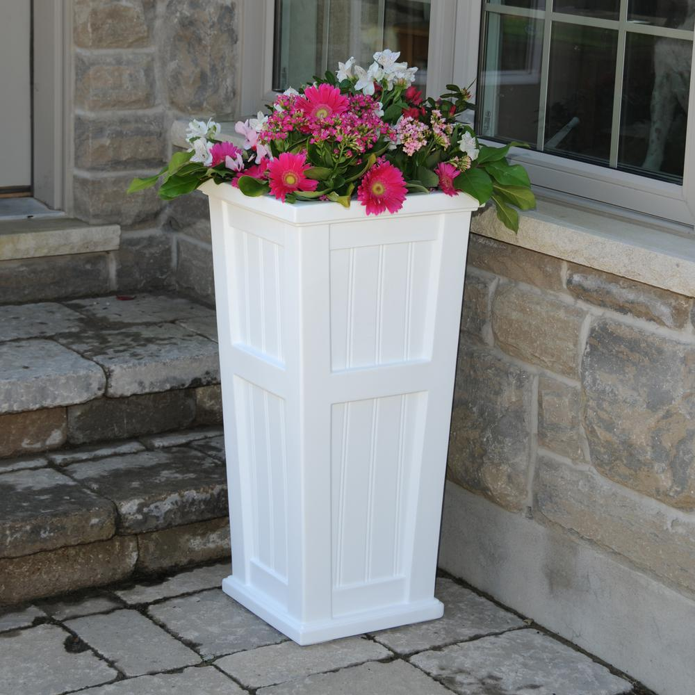 Tall White Planter