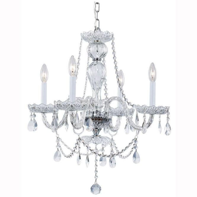 Hampton Bay Lake Point 4 Light Chrome And Clear Crystal Chandelier