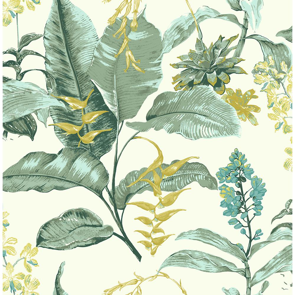 Kenneth James Maui Green Botanical Green Wallpaper Sample Ps41804sam The Home Depot