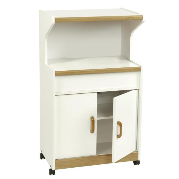 white finish wooden microwave cart