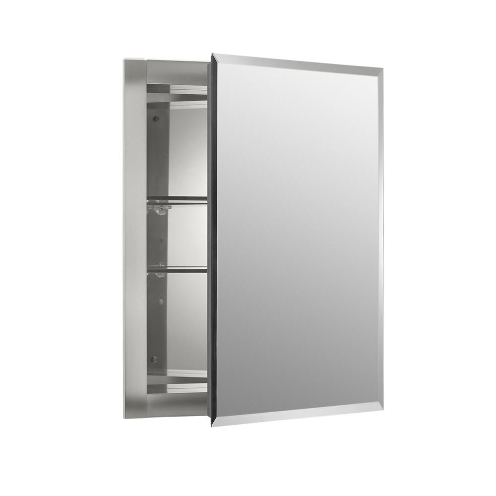 kohler 15 5 in w x 19 5 in h x 5 in d aluminum recessed medicine cabinet k cb clr1620fs the home depot