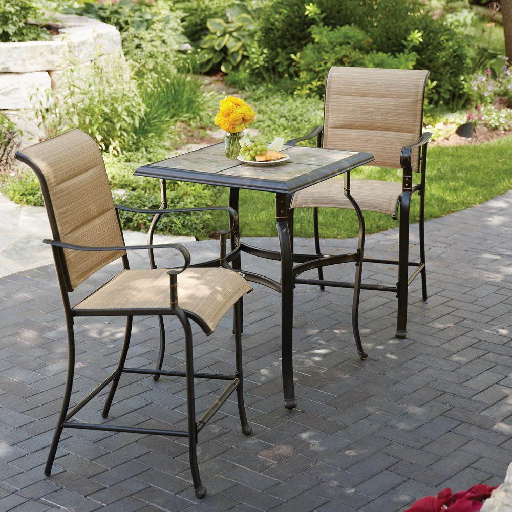 Counter Height   Patio Dining Furniture   Patio Furniture   The Home     Belleville 3 Piece Padded Sling Outdoor Bistro Set