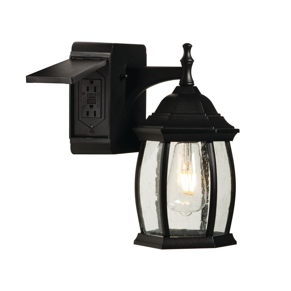 Addington Park Grace 1 Light Outdoor Wall Sconce With 2 Built In Gfci Outlets Black 31847 The Home Depot