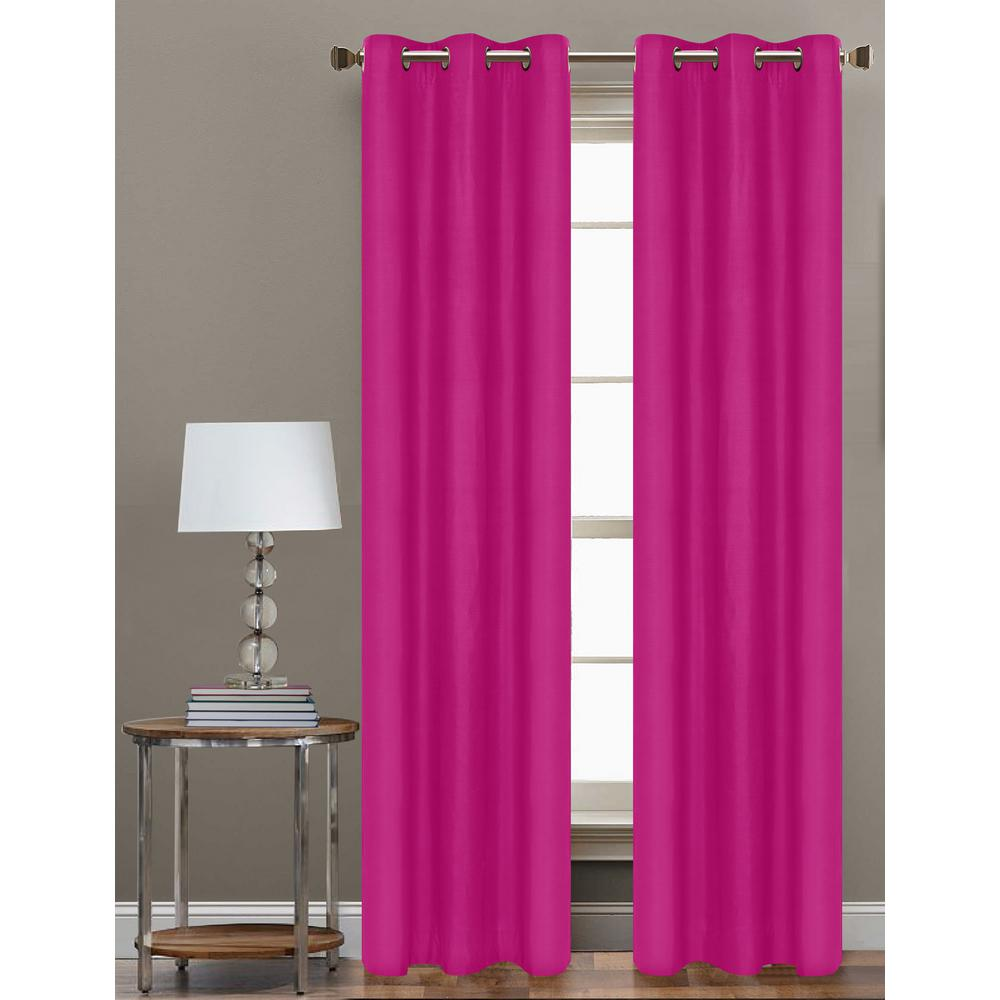Cathay Home 84 In L Polyester Form Blackout Grommet Curtain Panel In Hot Pink Set Of 2 108848