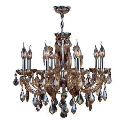 Catherine Collection 6 Light Polished Chrome And Amber Orange Crystal Chandelier