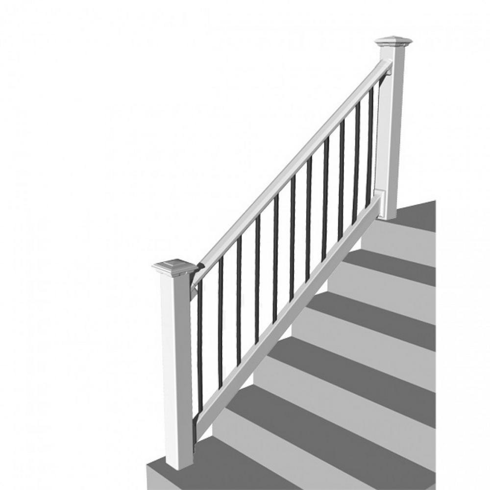 Rdi Original Rail Pvc 8 Ft X 36 In 32 38° Stair Rail Kit White | Black And White Stair Railing | Wall | Wrought Iron | Handrail | Victorian | Contemporary
