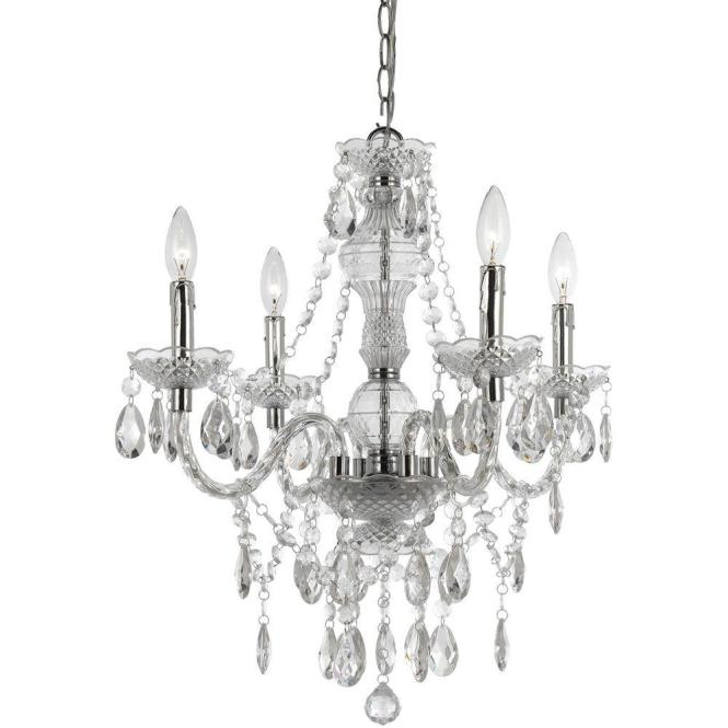 Af Lighting Naples 4 Light Chrome Mini Chandelier With Clear Plastic Bead Accents