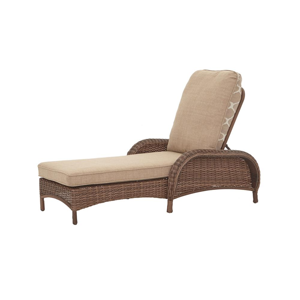 hampton bay beacon park brown wicker outdoor patio chaise lounge with cushionguard toffee trellis tan cushions fbs80022 the home depot