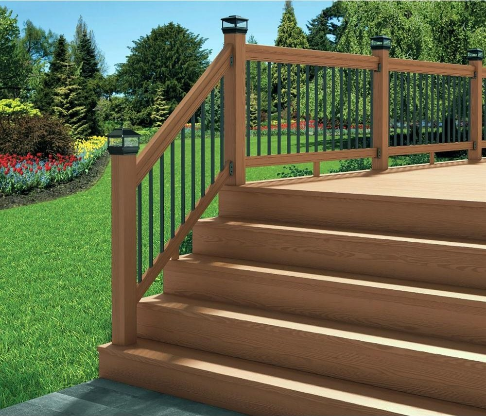 Deckorail 6 Ft Redwood Deck Rail Kit With Black Aluminum   Handrail Wood Home Depot   Balusters   Pressure Treated Lumber   Deck Railing   Staircase   Stair Railings