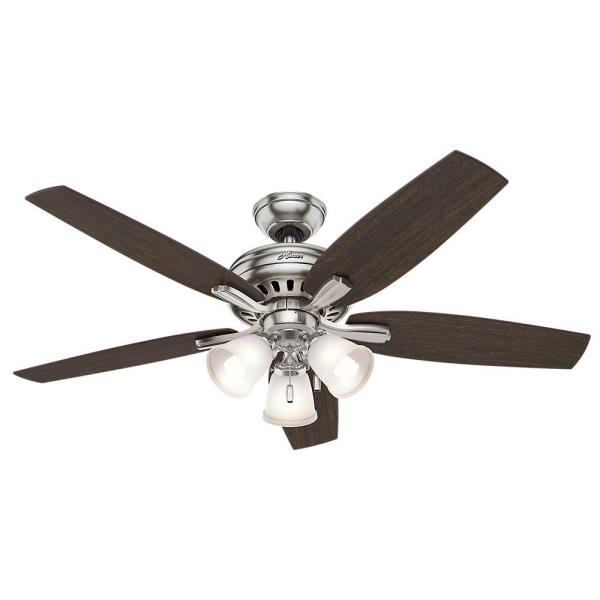 Hunter Newsome 52 in  Indoor Brushed Nickel Ceiling Fan with Light     Hunter Newsome 52 in  Indoor Brushed Nickel Ceiling Fan with Light Kit