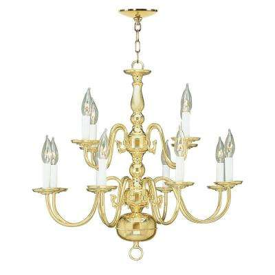 8 Light Polished Brass Chandelier
