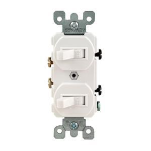 Leviton 15 Amp Combination Double Rocker Switch, WhiteR62