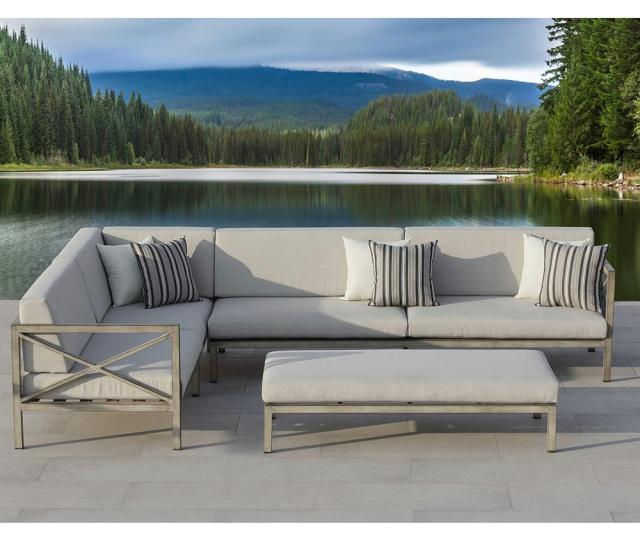 Ove Decors Pasadena  Piece Gray Aluminum Outdoor Sectional Set With Olefin Gray Cushions