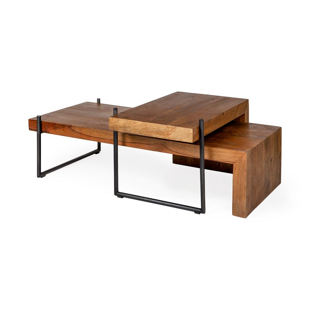 mercana maddox 56 in brown large l shaped wood coffee table with nesting tables 67843 ab the home depot