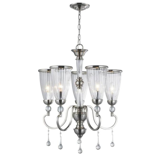 World Imports 5 Light Brushed Nickel Chandelier With Crystal Adorned Clear Glass Shade Wi61024 The Home Depot