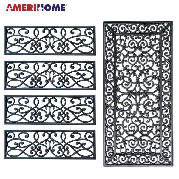 Amerihome Decorative Scrollwork Indoor Outdoor Entryway Rubber | Outdoor Rubber Stair Treads Home Depot | Riser | Coin Grip | Rubber Cal | Stair Mats | Recycled Rubber
