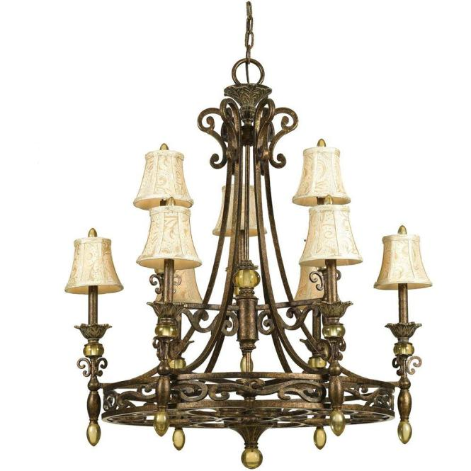 Af Lighting Baltic 9 Light Aged Antique Gold Chandelier With Ivory Shades