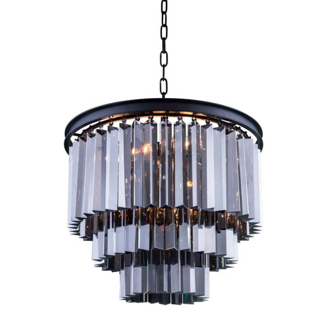 Elegant Lighting Sydney 9 Light Mocha Brown Chandelier With Silver Shade Grey Crystal
