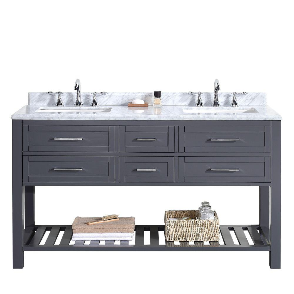 ove decors pasadena 60 in w x 22 in d vanity in dark grey with marble vanity top in carrara white with white basin