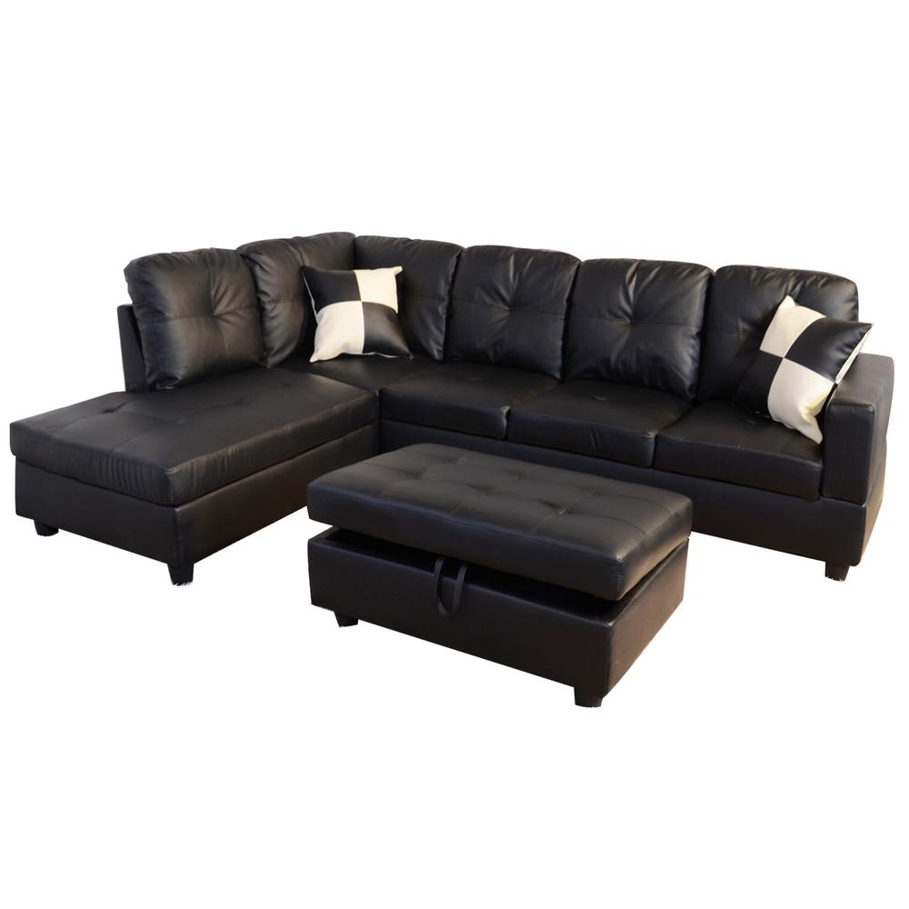 star home living black faux leather 3 seater left facing chaise sectional sofa with storage ottoman sh091a the home depot