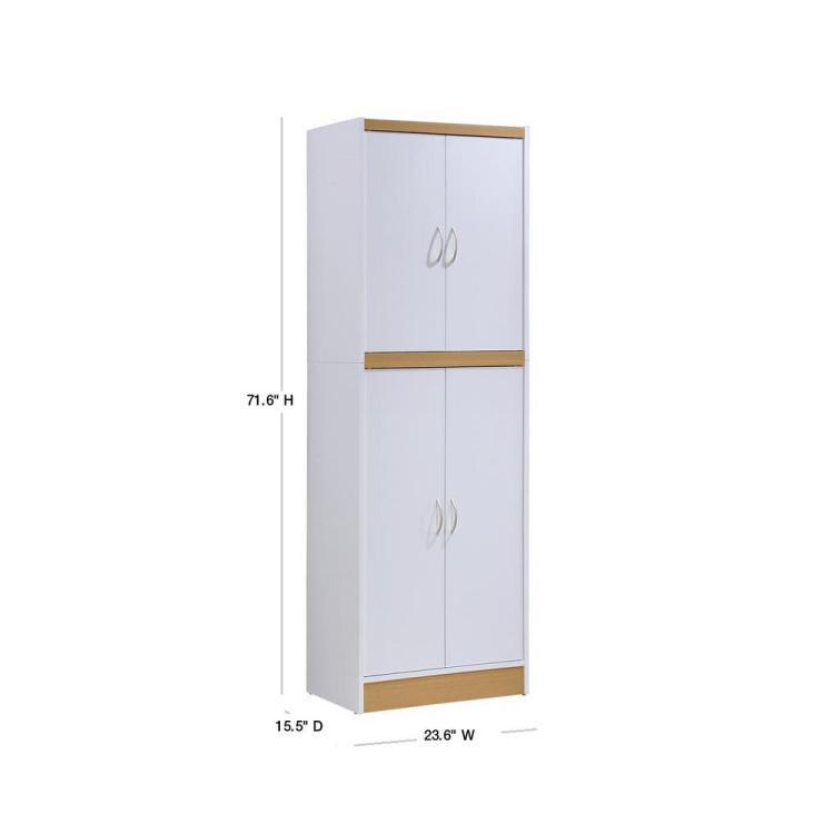 Hodedah 4 Door White Kitchen Pantry Hi224 White The Home Depot