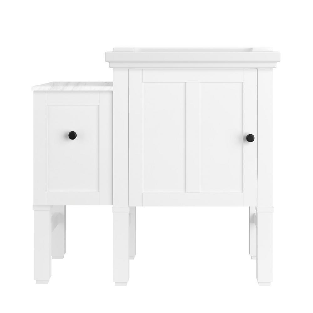 kohler chambly 36 in w vanity in linen white with ceramic vanity top in white