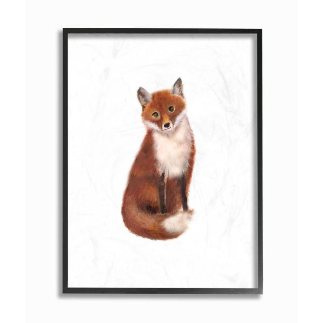 The Stupell Home Decor Collection 11 In X 14 In Red Fox Watercolor Illustration By Studio Q Wood Framed Wall Art Brp 2053_fr_11x14 The Home Depot