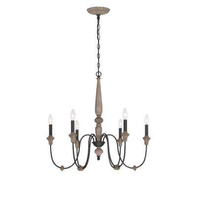 Capra 6 Light Rust Chandelier With Distressed Ivory Accents
