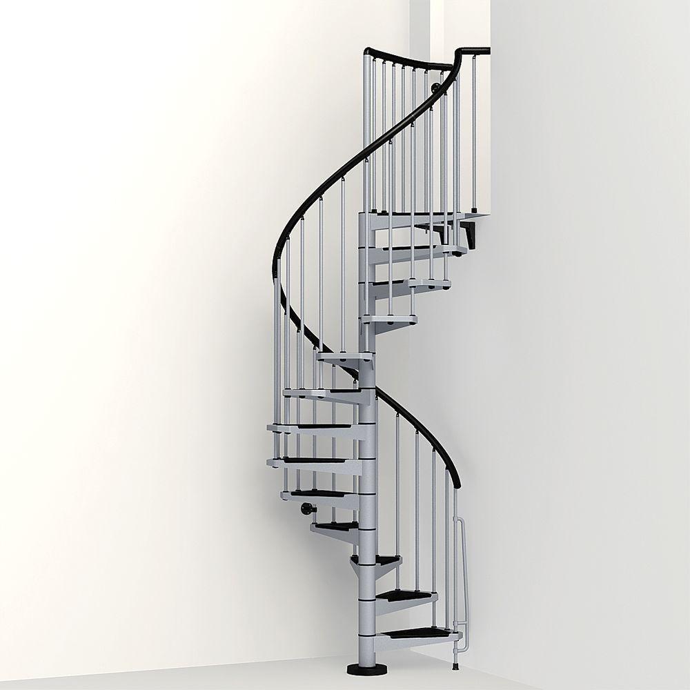 Arke Civik 47 In Grey Spiral Staircase Kit K03030 The Home Depot   Outdoor Spiral Staircase Home Depot   Stair Parts   Stair Case   Steel Spiral   Stair Kit   Handrail