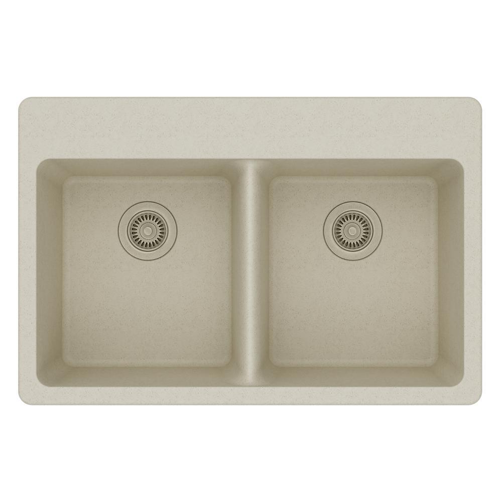 Elkay Quartz Classic Drop In Composite 33 In Double Basin Kitchen Sink In Bisque ELG3322BQ0