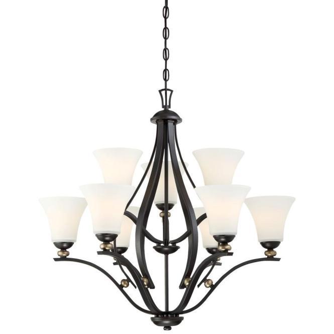 Minka Lavery Shadowglen 9 Light Lathan Bronze Chandelier 3289 589 The Home Depot