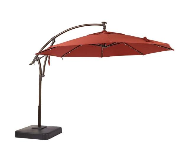 Led Round Offset Patio Umbrella In Chili Red Yjaf052 The Home Depot