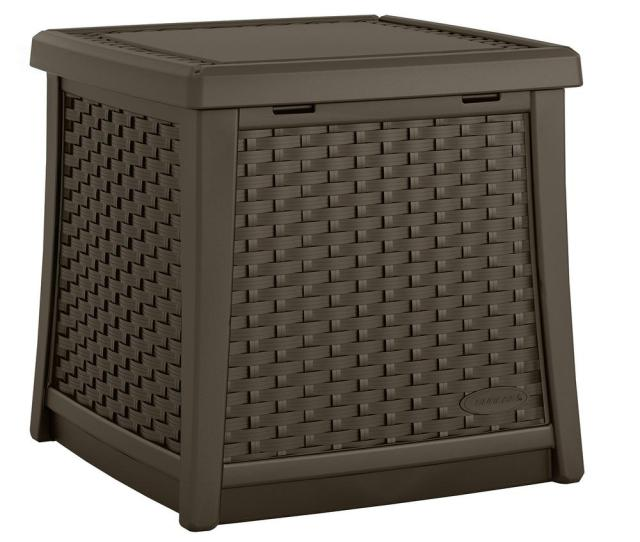 Suncast Elements Resin Outdoor Side Table With Storage Bmdb The Home Depot