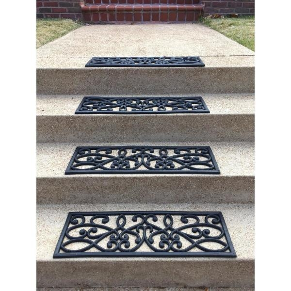 Amerihome Decorative Scrollwork Indoor Outdoor Entryway Rubber | Decorative Outdoor Stair Treads | Stone | Interior | Non Slip | Modern Exterior Stair | Fancy