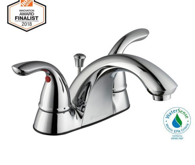 Centerset  Handle Low Arc Bathroom Faucet In Chrome