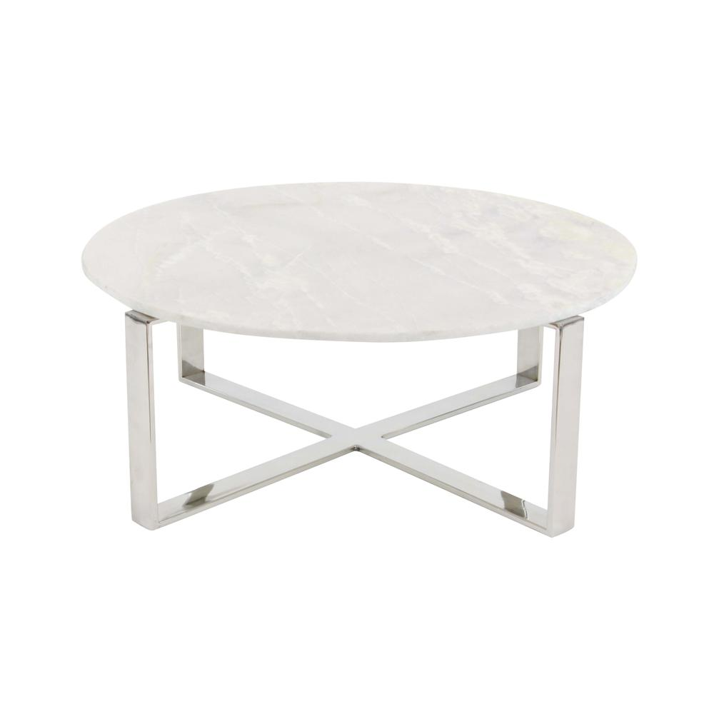 litton lane modern marble top round coffee table 57340 the home depot