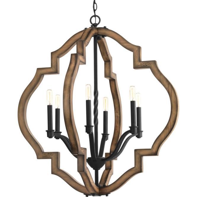 Progress Lighting Ewood Collection 6 Light Black Gilded Iron Chandelier