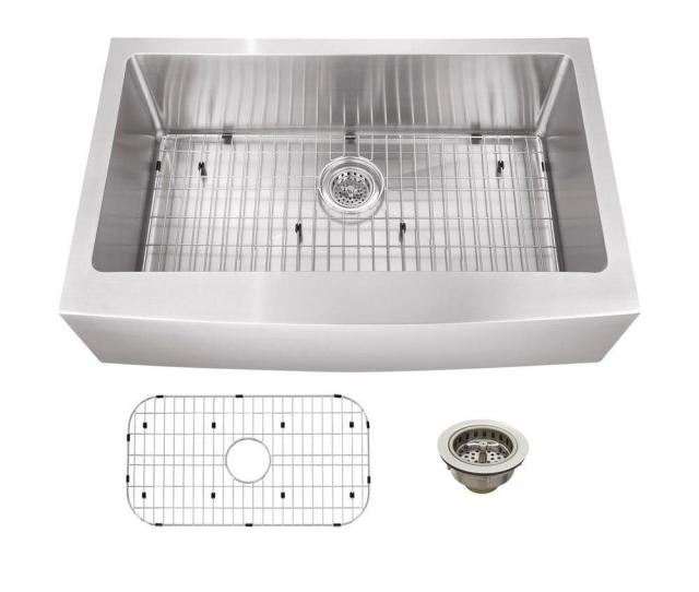 Schon All In One Apron Front Undermount Stainless Steel  In Apron Front Single Bowl Kitchen Sink Scaps The Home Depot